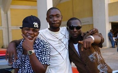 Dagrin, Ayomide Tayo and YQ at th Headies theme song video shoot in 2009 (Ayomide Tayo)