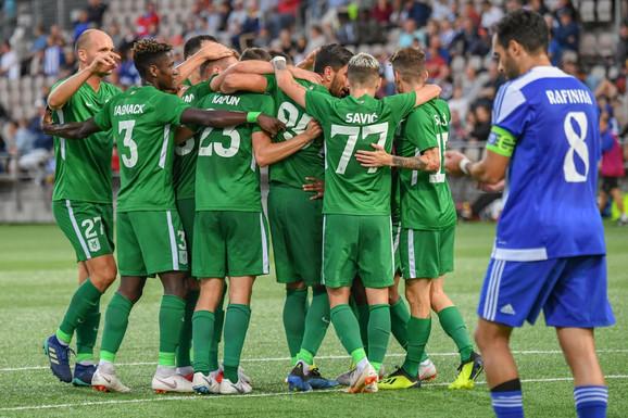 Fudbaleri Olimpije slave jedan od golova na meču sa Helsinkijem