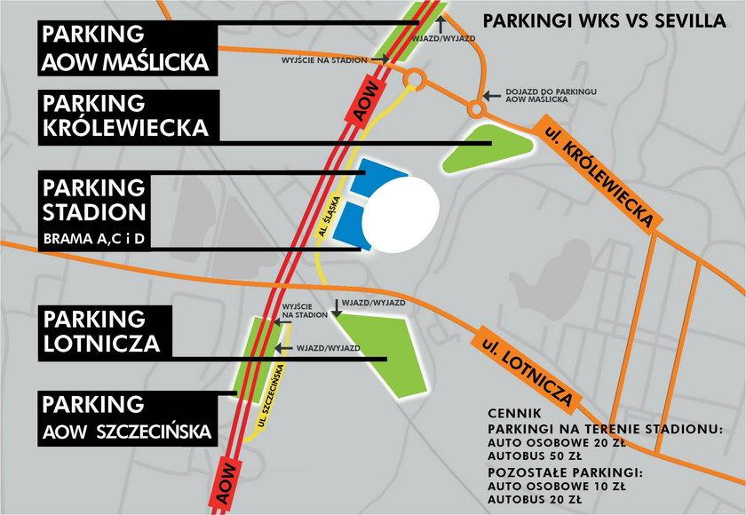 Mapka parkingów koło Stadionu Miejskiego we Wrocławiu