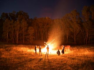 People By Campfire In Forest At Night