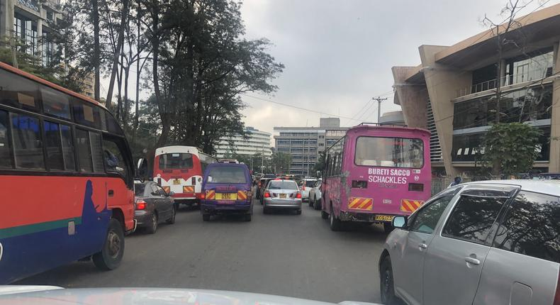 Traffic at Community area in Nairobi as the Nairobi Metropolitan Services (NMS) conducts test at Green Park PSV terminus