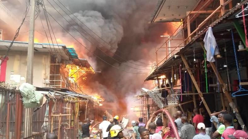 Fire outbreak at Balogun market again.[Gboyega Akosile/Twitter]