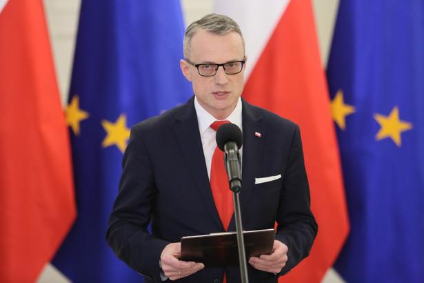 Szef prezydenckiego Biura Prasowego Marek Magierowski, podczas konferencji prasowej w Pałacu Prezydenckim.
