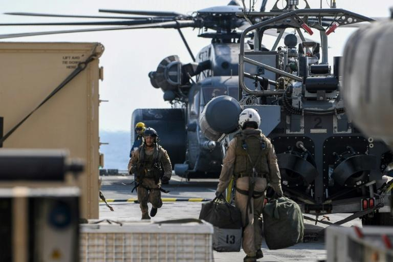 US Black Hawk helicopter crew members took part in the International Maritime Exercise (IMX), led by the US in Gulf waters off Bahrain for three weeks starting October 21