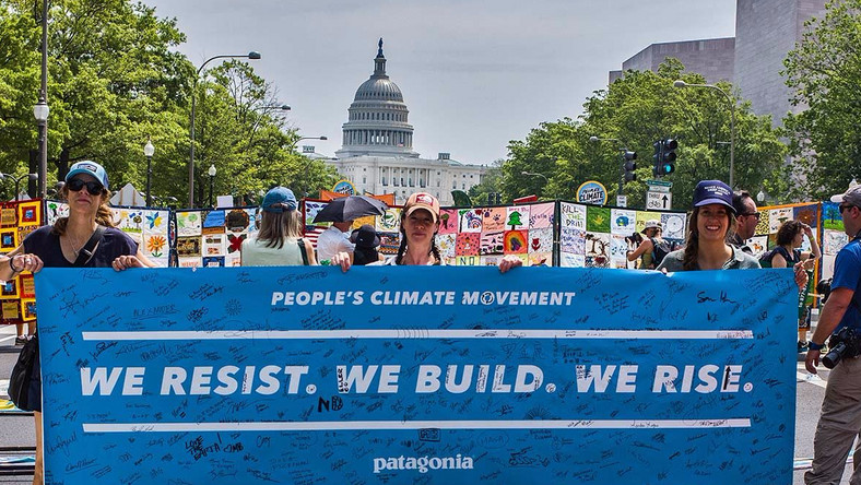A Patagonia poster at the People's Climate March in Washington DC.