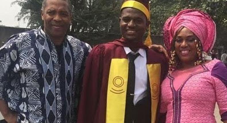 Yeni Kuti with Femi Kuti as son graduates from the University of Lagos