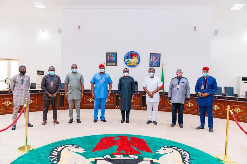 Delta Gov Okowa hosts movie producers in Asaba on Friday, August 28, 2020 (State press corps)