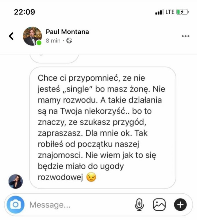 wiadomość od Ilony Felicjańskiej do Paula Montany