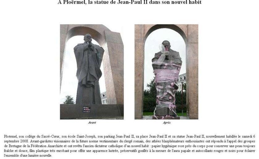 Anarchiści zbezcześcili pomnik Jana Pawła II