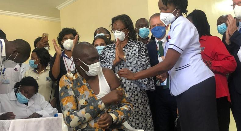 Dr Patrick Amoth becomes the first Kenyan to take Covid-19 Vaccine