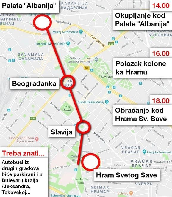 Trasa kojom će se kretati kolona građana