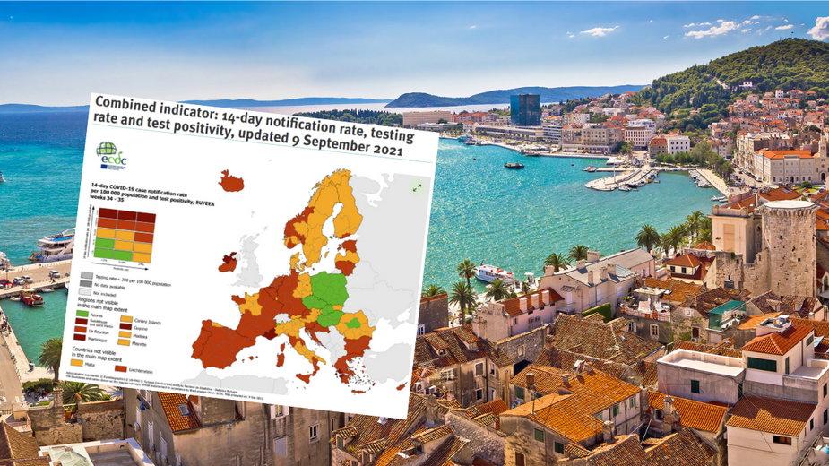 Chorwacja w czerwonej strefie ECDC