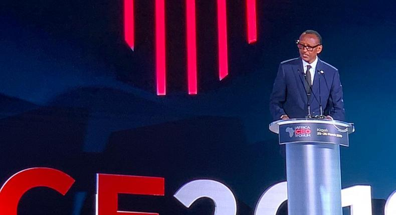 Rwandan President, Paul Kagame giving an opening remarks at the Africa CEO Forum 2019