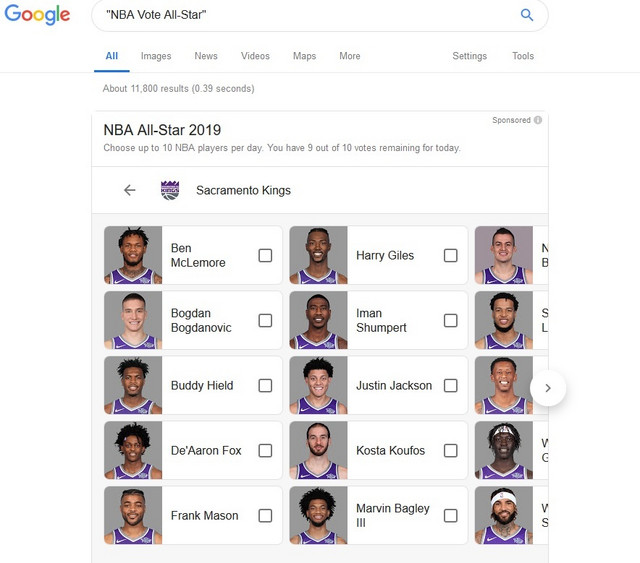 Početni ekran kada se putem Gugla glasa za košarkaše Sakramento Kingsa