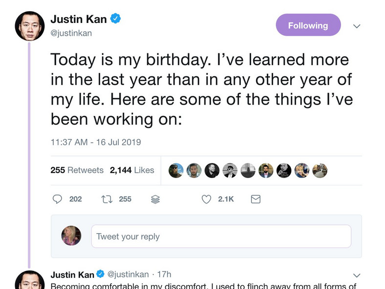 Justin Kan birthday tweet