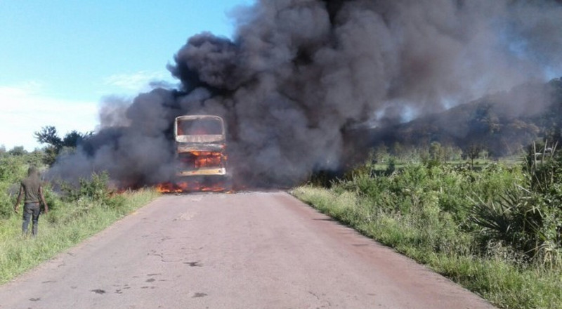 Bus bursts into flames with passengers on-board