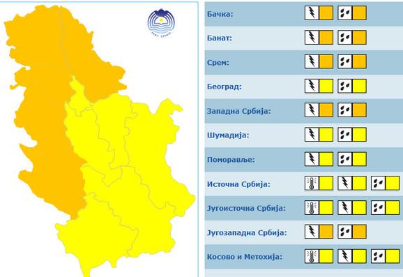 U Srbiji će sutra na snazi biti žuti i narandžasti meteo alarm