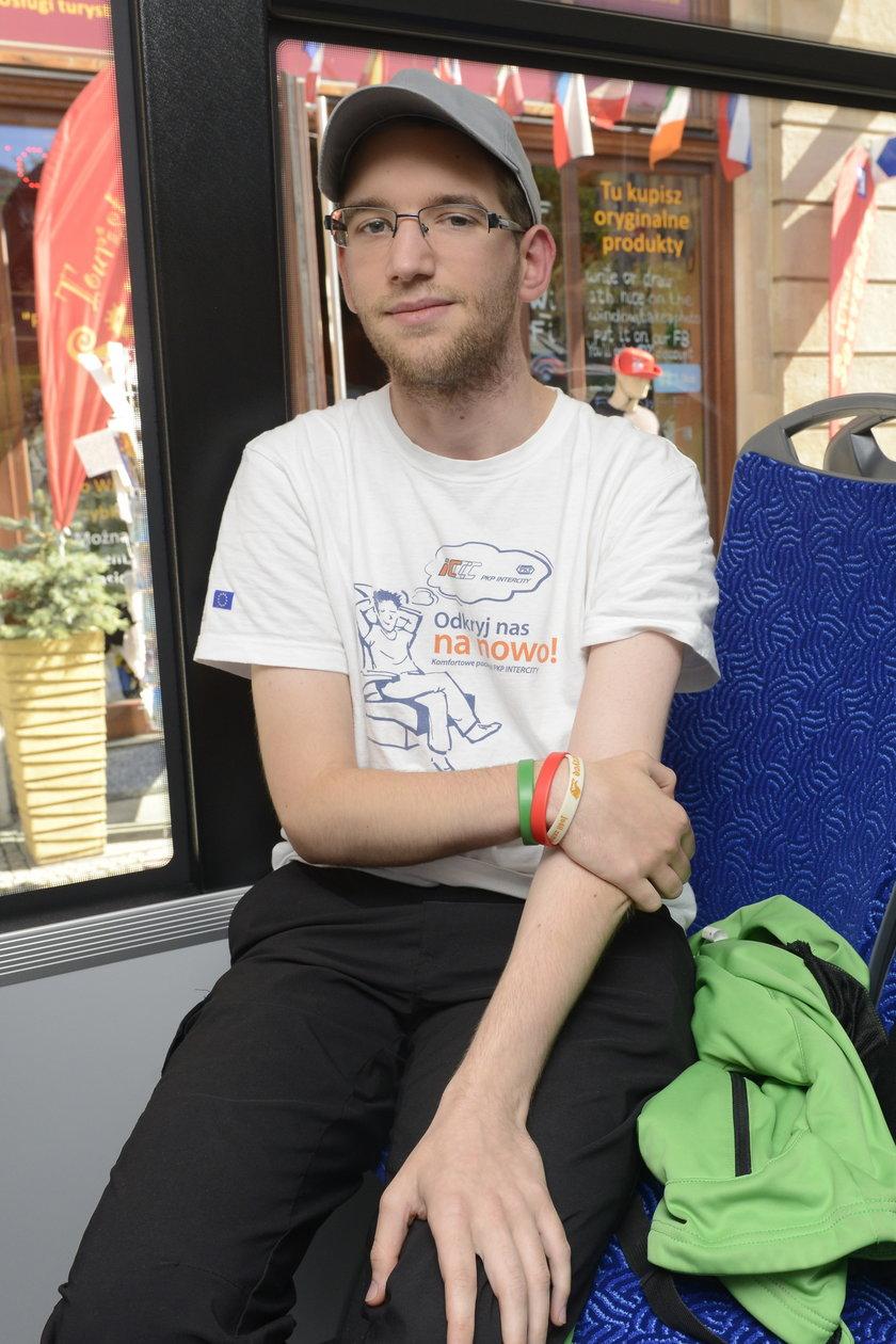 Michał Malinowski (23 l.), pasażer MPK z Wrocławia