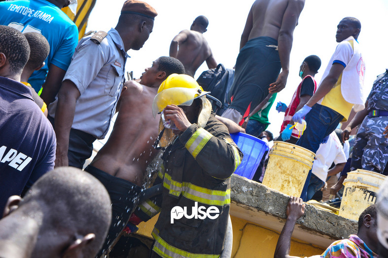 A fire fighter quenches his thirst (Pulse)