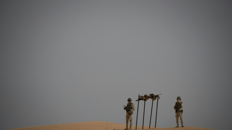 Mauritanian soldiers at a G5 Sahel task force command post in the southeast of Mauritania near the border with Mali