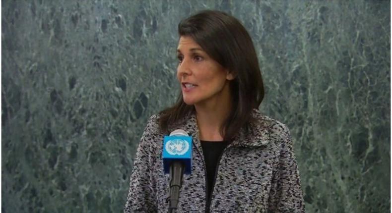 Ambassador Nikki Haley addressing the United Nations council.