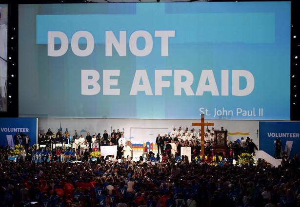 Papież Franciszek podczas spotkania w krakowskiej Tauron Arenie