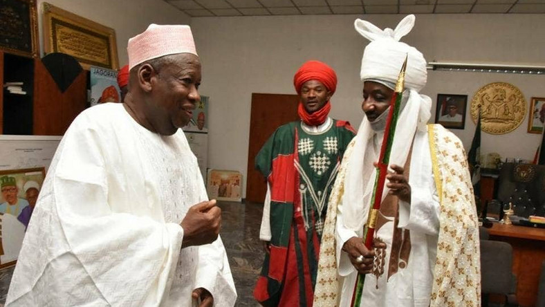 Governor Abdullahi Ganduje of Kano State and Emir Sanusi aren't the best of friends at the moment (Hallmark News)