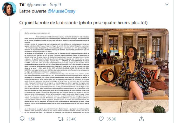 Zbog ovakvog dekoltea nisu je pustili da uđe u Muzej Orsej u Parizu