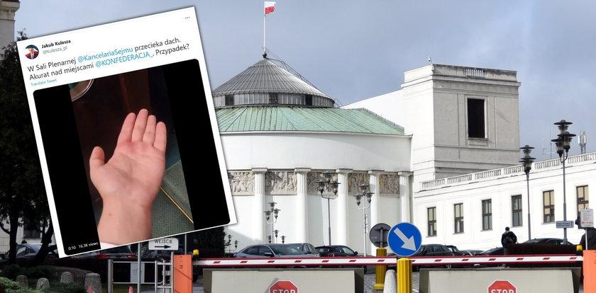Woda kapie na posłów w Sejmie. Politycy Konfederacji wietrzą spisek