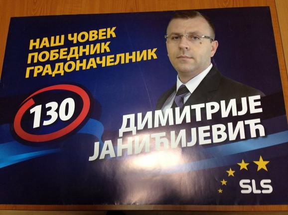Dimitrije Janićijević na izbornom plakatu za poslednje izbore na Kosovu