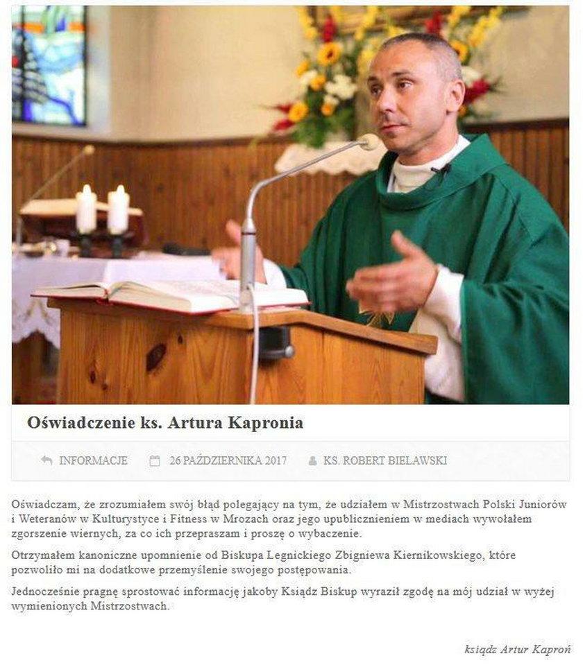 Artur Kaproń – ksiądz-kulturysta podbija sieć. Biskup grozi mu palcem