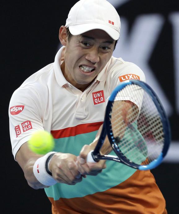 Kei Nišikori tokom meča sa Đokovićem