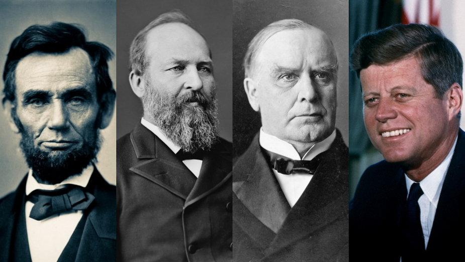 Od lewej: Abraham Lincoln, James Garfield, William McKinley oraz John F. Kennedy - prezydenci USA, którzy zginęli w wyniku zamachu