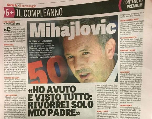 Intervju Siniše Mihajlovića za Gazetu