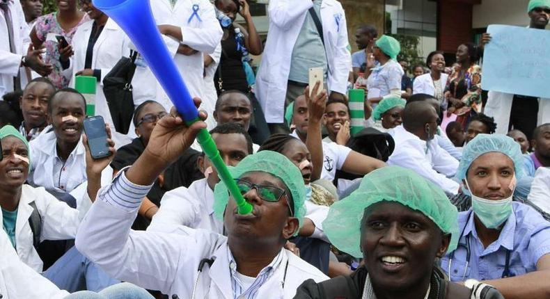 Kenyan doctors demonstrating during a past go slow industrial action.