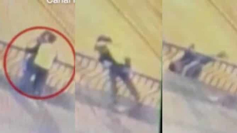Couple from night club falls 50ft to death as they engage in passionate kissing on a bridge (video)