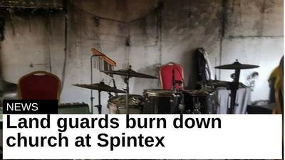 Land guards burn down Church at Spintex [Photos]