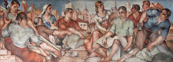 Mladen Josić, freska Dogradnja palate Hipotekarne banke, danas Narodni muzej