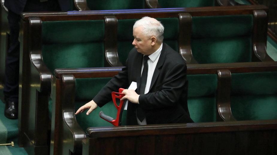 Prezes PiS Jarosław Kaczyński na sejmowej sali obrad. Warszawa, 22.01.2020 r.
