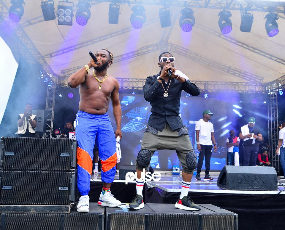 Slimcase and D'banj performing at Access Bank Lagos City Marathon 2019