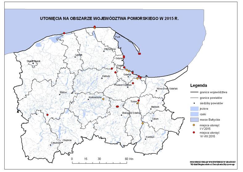 Mapa utonięć w województwie pomorskim