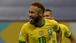 Brazil's Neymar celebrates after scoring in the 2021 Copa America opener against Venezuela Creator: NELSON ALMEIDA