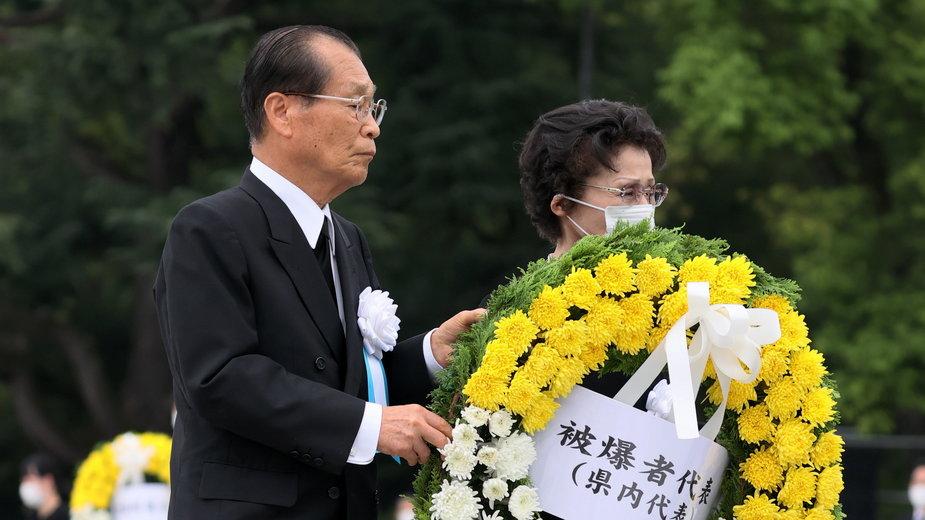 Złożenie symbolicznych wieńców przez rodziny ofiar z Hiroszimy