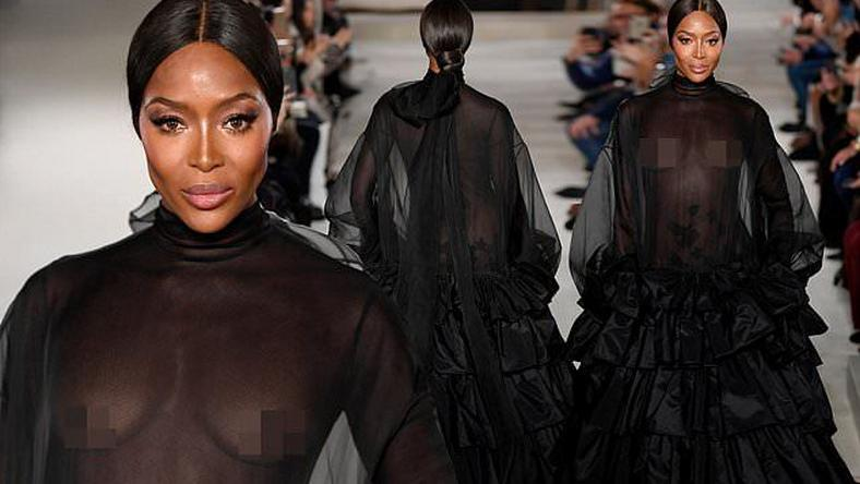 Naomi Campbell is a vision as she closes Valentino's haute couture show in sheer black gown