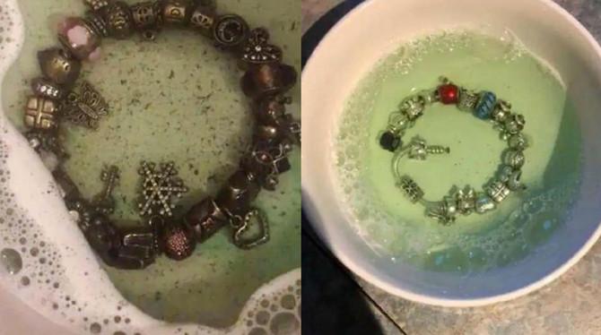 Srebrna narukvica pre i posle čišćenja