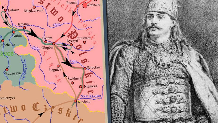 Mapa ukazująca przebieg wojny polsko-niemieckiej w 1109 / fot. CC-BY-SA 30 // Bolesław Krzywousty