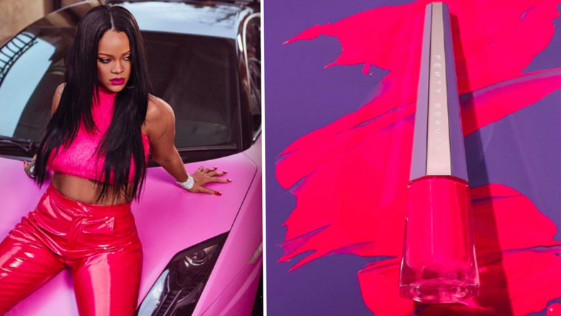Rihanna looks sensational in hot pink to celebrate the release of new Stunna lip paint
