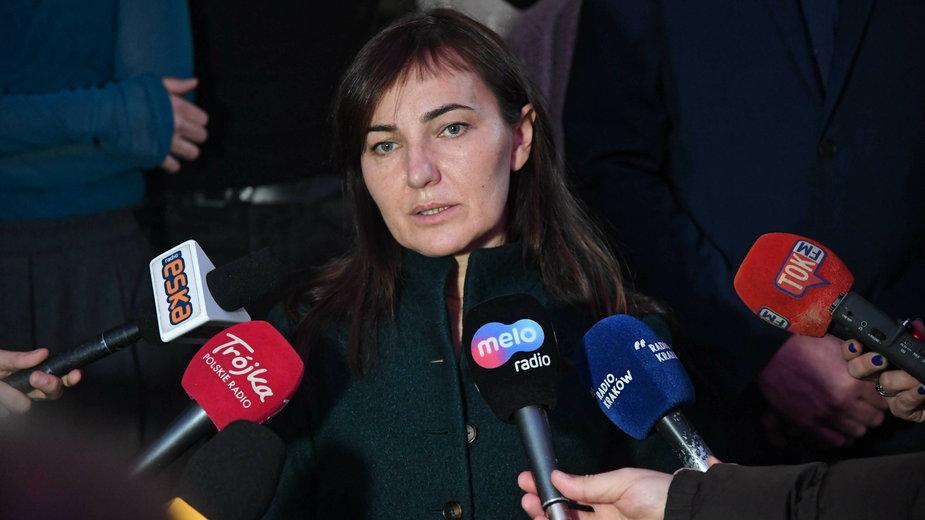 Renata Derejczyk na konferencji prasowej