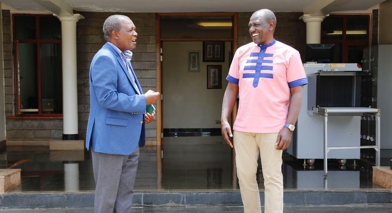 Deputy President William Ruto with former CBK Governor Njuguna Nding'u
