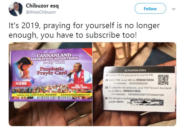 Church sells prophetic prayer recharge card to members